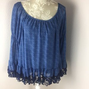 NWT 2tee Couture Denim Lace Western Top Boho